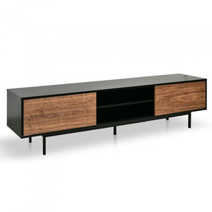 Tuscan Entertainment TV Unit - Matte Black - Walnut Drawers - Notbrand
