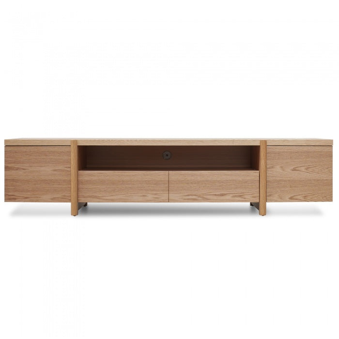 2.1m Entertainment TV Unit - Lowline - Full Natural - Timber Legs