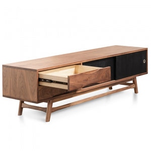 Duel Sided Entertainment TV Unit - Walnut - Black - Notbrand