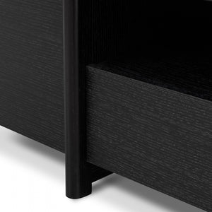 New York Lowline 2.1m Entertainment TV Unit Black Oak - Timber Legs - Notbrand
