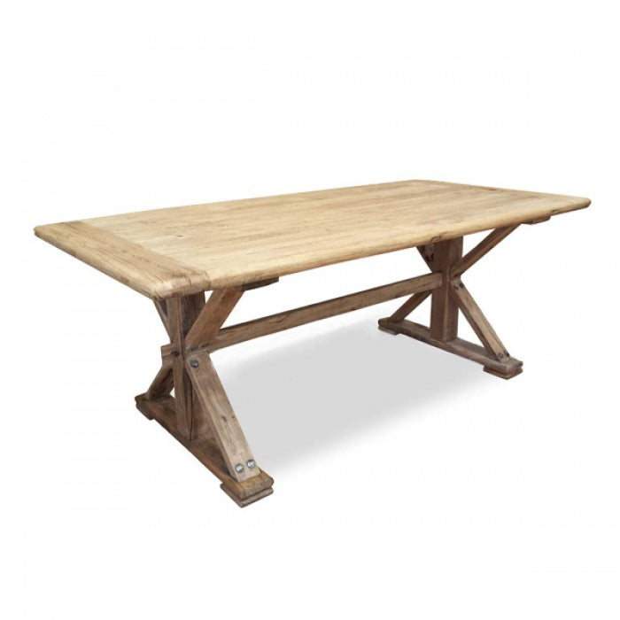 Elena Recycled Elm Timber Dining Table - Rustic Natural 1.98m - Notbrand
