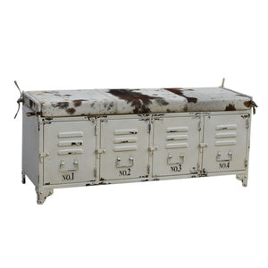 Shabby Chic Cowhide Iron Locker Bench - Notbrand