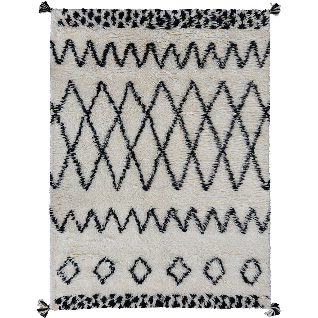 Zagora New Zealand Shaggy Berber Wool Rug - White