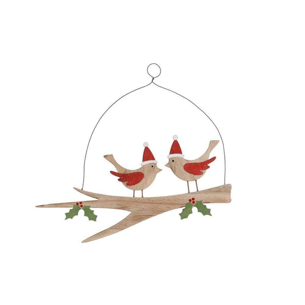 CGB Giftware Christmas Decorations Christmas Robins On A Branch Festive Hanging Decoration