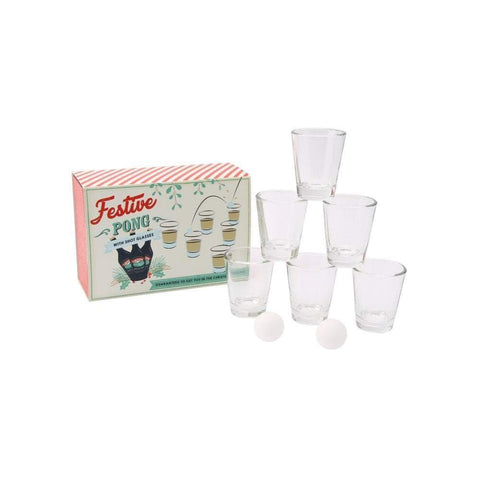CGB Giftware Glassware Festive Pong With Shot Glasses Christmas Game
