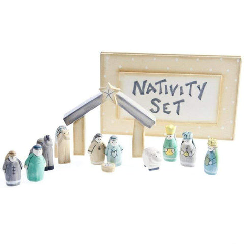 East of India Christmas Decorations Mini Wooden Nativity Set in a Box
