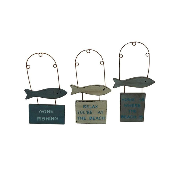 Gisela Graham Bathroom Accessories Set Of 3 Fishing Plaques
