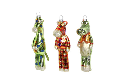 Gisela Graham Christmas Christmas Decorations Assorted Set of Painted Glass 'Toy' Hanging Decorations