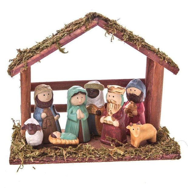 Gisela Graham Christmas Christmas Decorations Ceramic Nativity Scene in a Wooden Stable