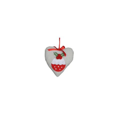 Gisela Graham Christmas Christmas Decorations Fabric Heart With Pudding Feature Hanging Decoration