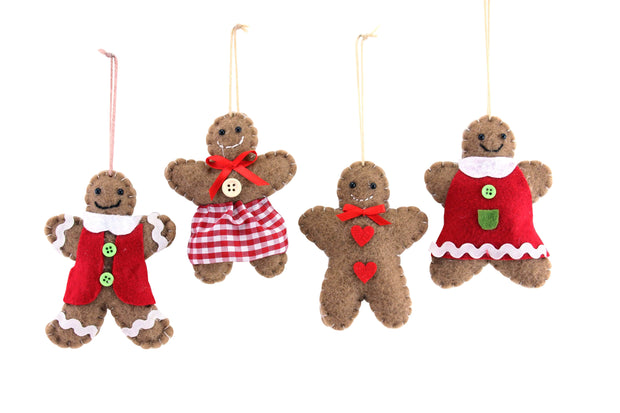 Gisela Graham Christmas Christmas Decorations Felt Gingerbread Boy & Girl Christmas Tree Decorations
