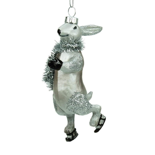 Gisela Graham Christmas Christmas Decorations Glass Skating Hare Novelty Decoration