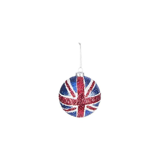 Gisela Graham Christmas Christmas Decorations Glitter Union Jack Bauble