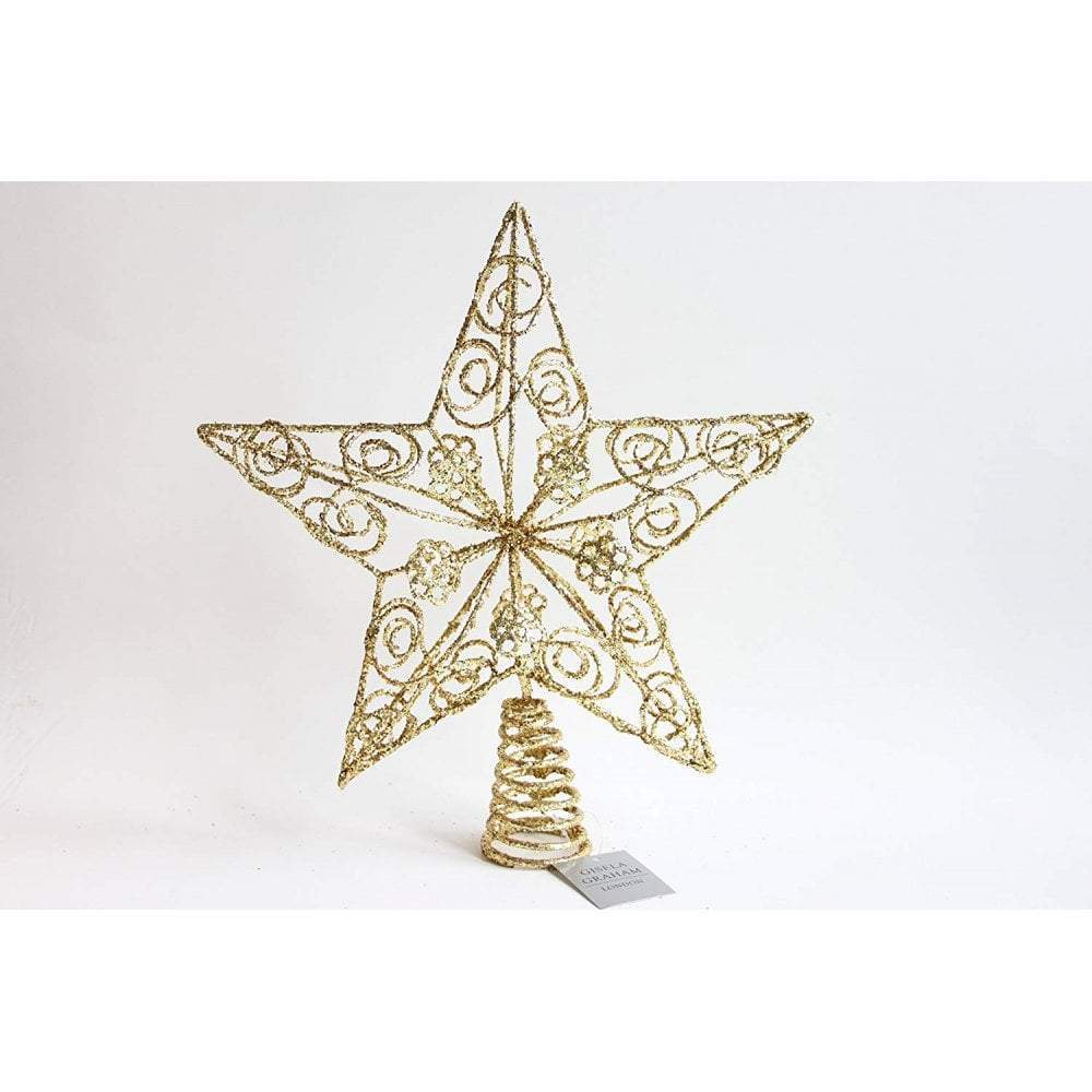 Christmas Tree Topper.Gold Glittery Star Christmas Tree Topper