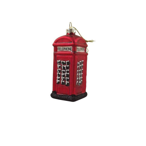 Gisela Graham Christmas Christmas Decorations Painted Glass Telephone Box Christmas Decoration