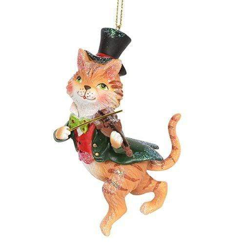 Gisela Graham Christmas Christmas Decorations Resin Cat & a Fiddle Christmas Decoration