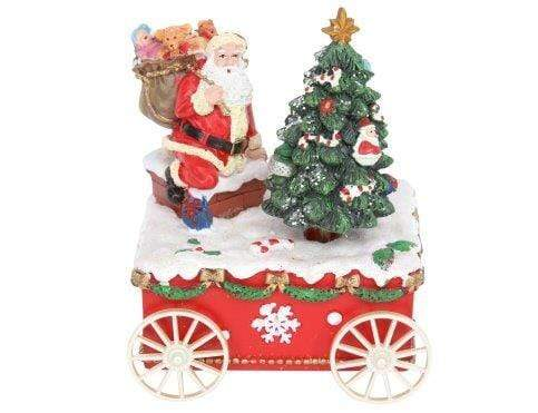 Gisela Graham Christmas Christmas Decorations Santa with Tree on Cart Music Box