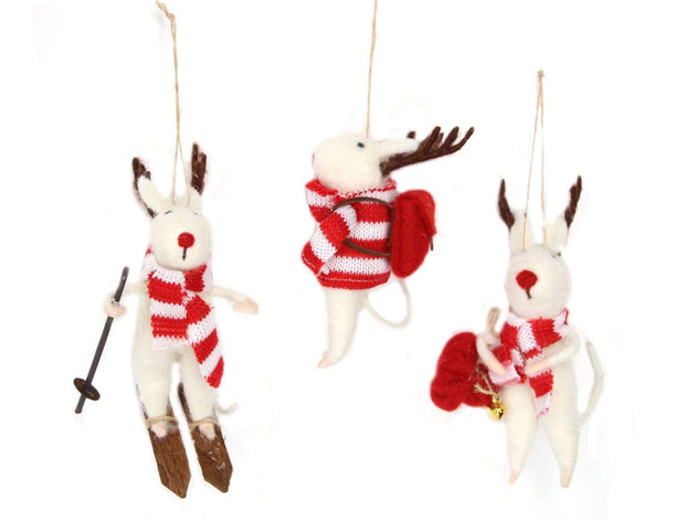Gisela Graham Christmas Christmas Decorations Set of 3 White Reindeer Woolen Christmas Decorations