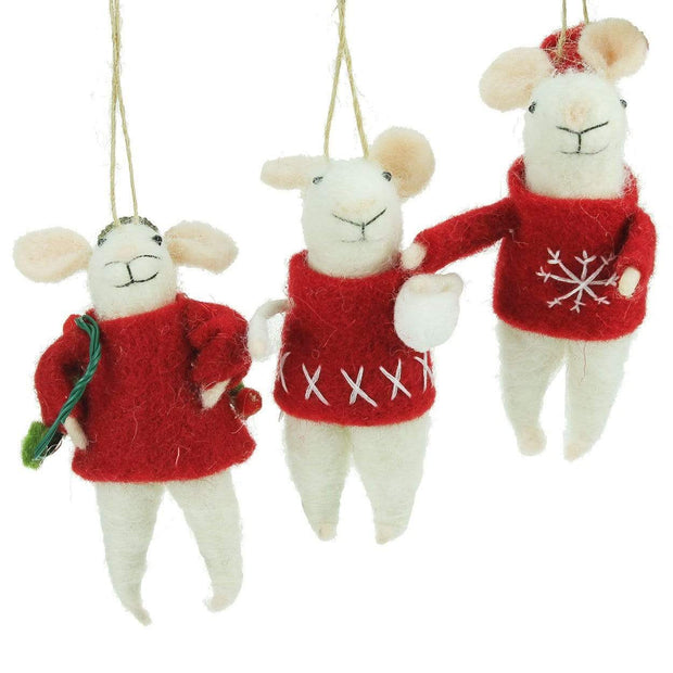 Gisela Graham Christmas Christmas Decorations Set of 3 Wool Mice Christmas Decorations