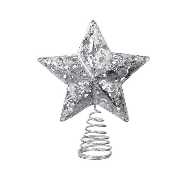 Gisela Graham Christmas Christmas Decorations Silver Christmas Star Tree Topper Feature