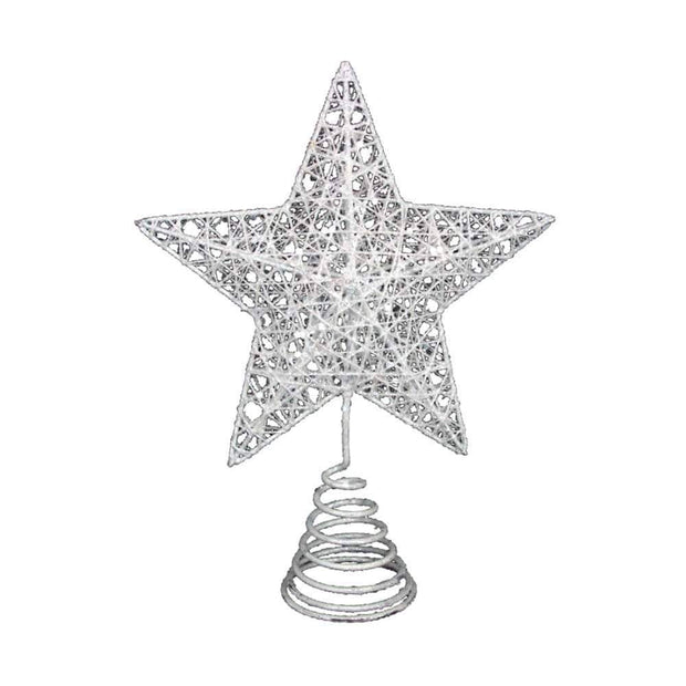 Gisela Graham Christmas Christmas Decorations White Glittery Star Tree Topper