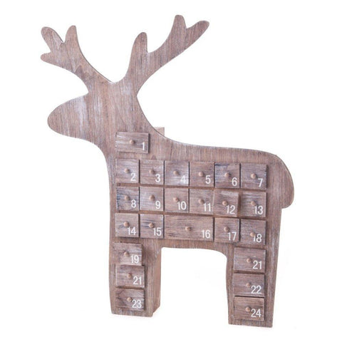 Gisela Graham Christmas Christmas Decorations Wooden Reindeer Advent Calendar