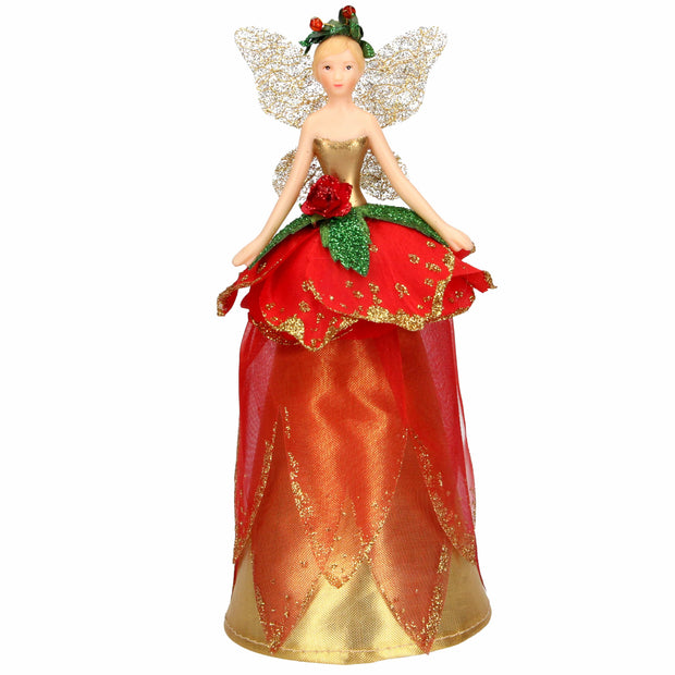 Gisela Graham Christmas Christmas Tree topper Copy of Turquoise and Gold Fabric Fairy Tree Top