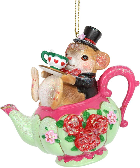 Gisela Graham Christmas Christmas Decorations Dormouse in a Tea Pot Christmas Tree Dcoration