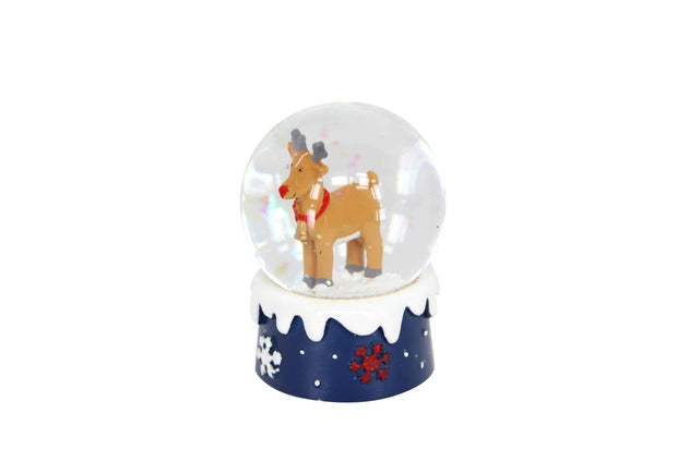 Gisela Graham Christmas Snow Globes, Christmas Decorations Brown Reindeer Mini Christmas Snowdome