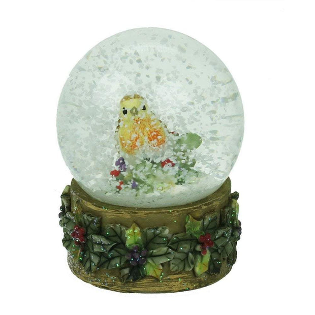 Gisela Graham Christmas Snow Globes, Christmas Decorations Robin Snow Globe