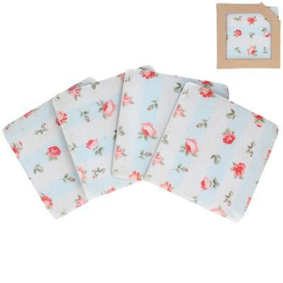 Gisela Graham Coasters & Placemats Set of Four Pretty Floral Designed Resin Coasters
