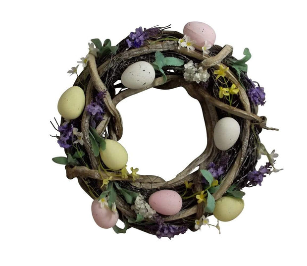 Gisela Graham Easter Easter Decorations Easter Wooden Entwined Wreath With Flowers