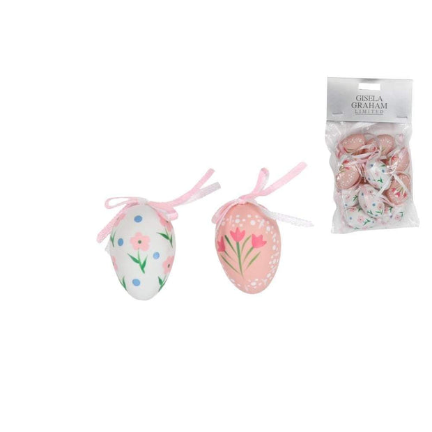 Gisela Graham Easter Easter Decorations Set of 12 Egg Decorations in Pink and White