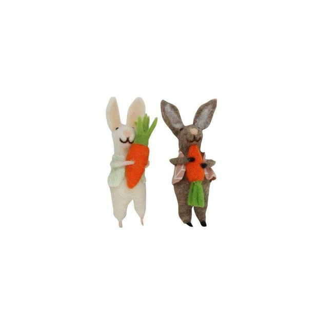 Gisela Graham Easter Easter Decorations Wool Set of Hanging Easter Bunnies