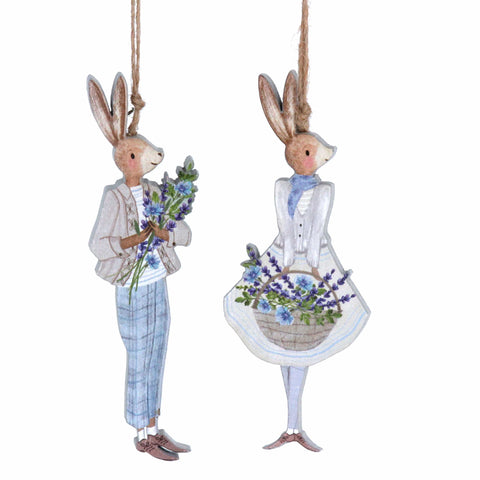 Gisela Graham Easter Easter Decorations Mr & Mrs Rabbit Hanging Easter Decorations