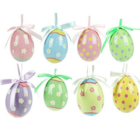 Gisela Graham Easter Easter Decorations Set of 8 Pastel Easter Egg Decorations