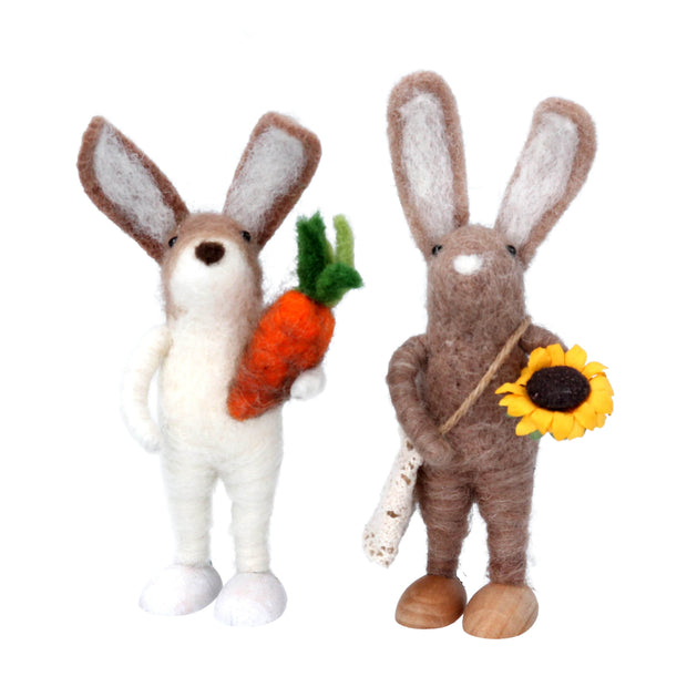Gisela Graham Easter Easter Decorations Set of Two Felt Bunnies Easter Decorations