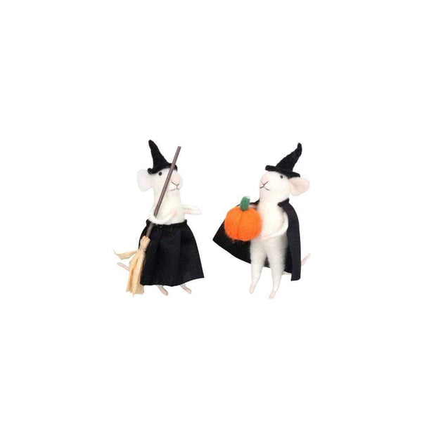 Gisela Graham Halloween Decoration Halloween Pair of Felt Mice Decorations