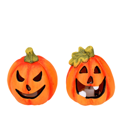 Gisela Graham Halloween Decoration Pair of Ceramic LED Pumpkin Ornaments