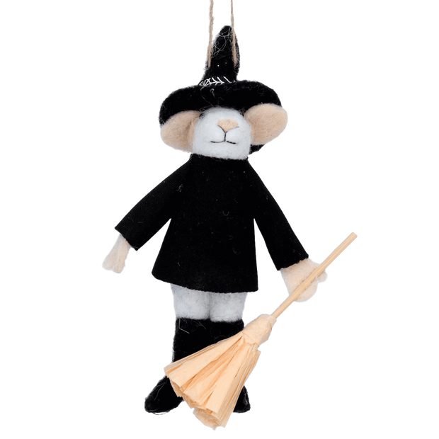 Gisela Graham Halloween Decoration Wool Wizard Mouse Halloween Hanging Decoration