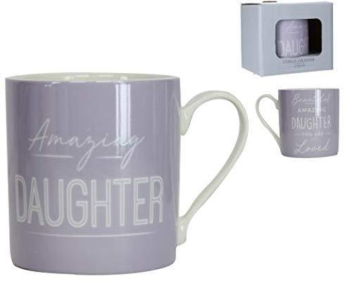 Gisela Graham Mugs & Drinkware Amazing Daughter Lilac Mug in Gift Box