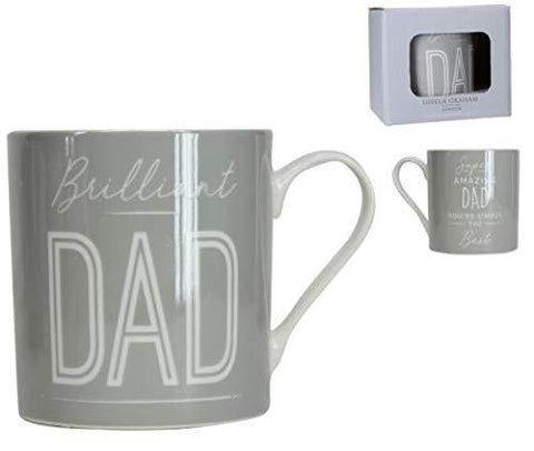 Gisela Graham Mugs & Drinkware Brilliant Dad Light Grey Mug in Gift Box