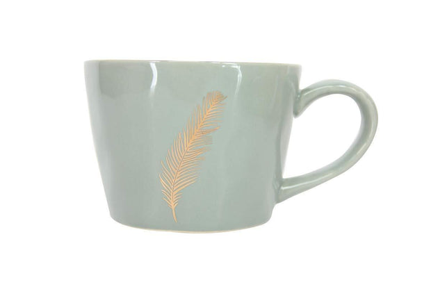 Gisela Graham Mugs & Drinkware Sage Green Artisan Ceramic Mug with Gold Feather