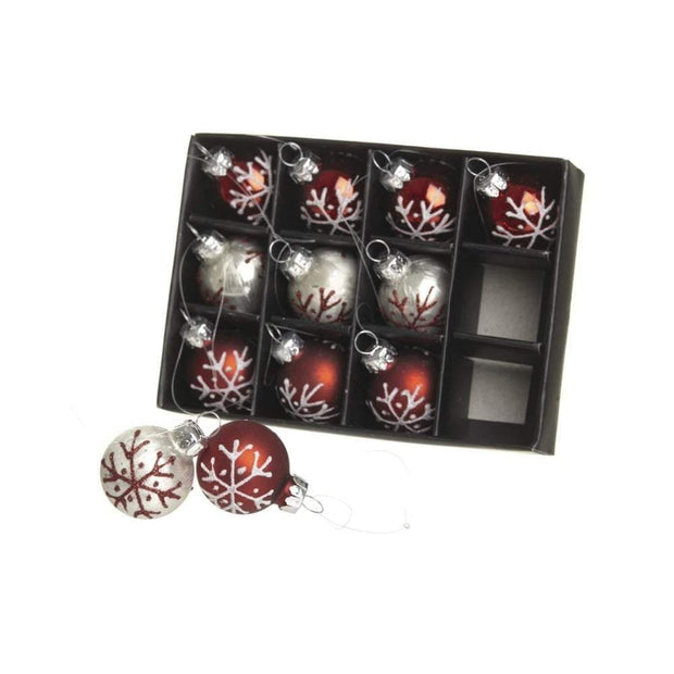 Heaven Sends Christmas Christmas Decorations Red and Silver Mini Baubles