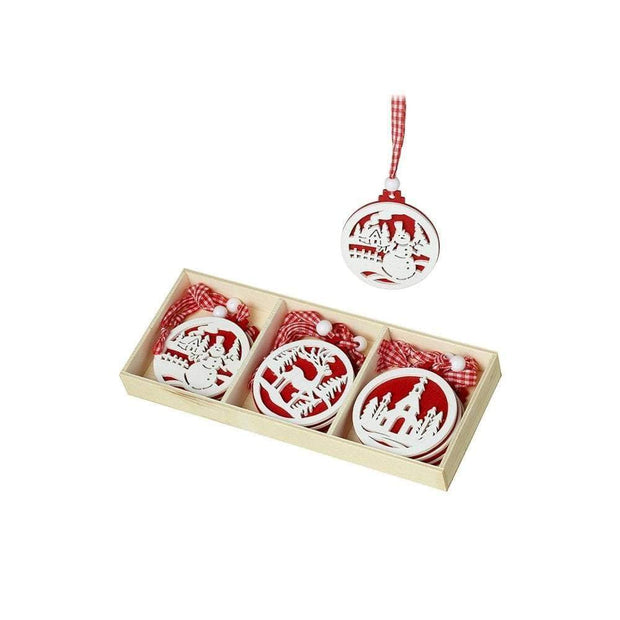 Heaven Sends Christmas Christmas Decorations Red And White Scandi Disc Christmas Decorations
