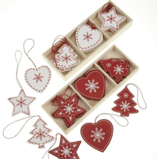 Heaven Sends Christmas Christmas Decorations Red and White Wooden Scandi Christmas Decorations
