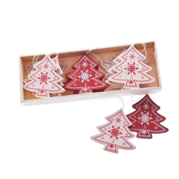 Heaven Sends Christmas Christmas Decorations Set of 12 Wooden Nordic Christmas Tree Decorations