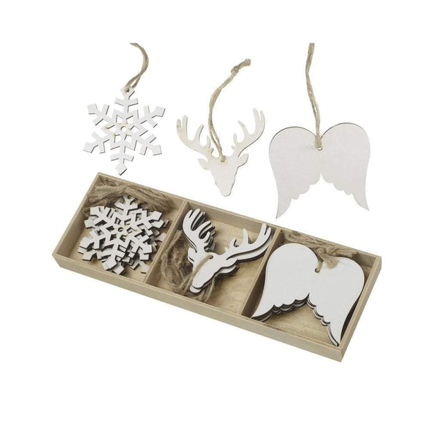 Heaven Sends Christmas Christmas Decorations Set of 18 White Christmas Decorations