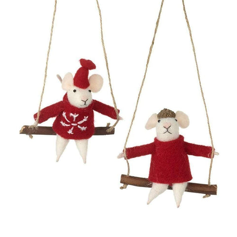 Heaven Sends Christmas Christmas Decorations Set of 2 Hanging Mice Decorations