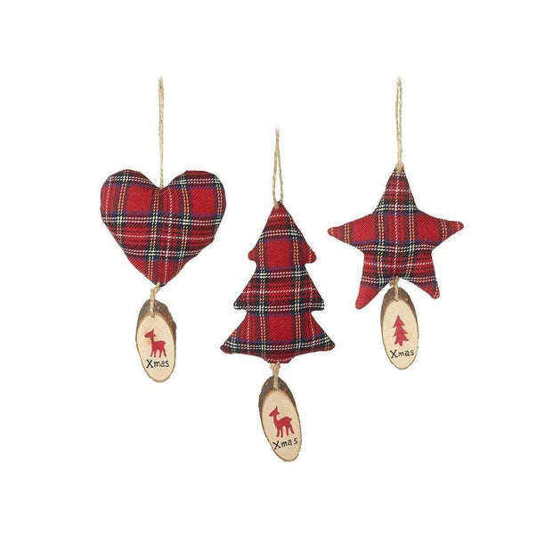 Heaven Sends Christmas Christmas Decorations Set of 3 Tree, Star and Heart Tartan Decoration Set
